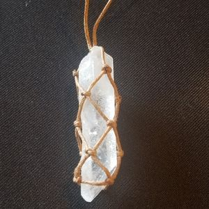 Rope wrapped quartz wand necklace nwt